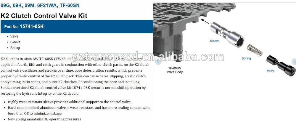09G, 09K, 09M, TF-60SN, TF-80SC, TF-81SC Lockup Clutch Control Valve Kit 15741-29K